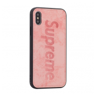 Supreme Leather case iPhone X/XS pink